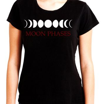 Moon Phases Lunar Cycles Women's Babydoll Shirt Gothic Witchy Clothing