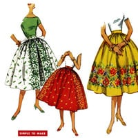 1950s Skirt Pattern Uncut Waist 26 Simplicity 1550 Full Gathered Border Print Skirts Day Evening Rockabilly Womens Vintage Sewing Patterns