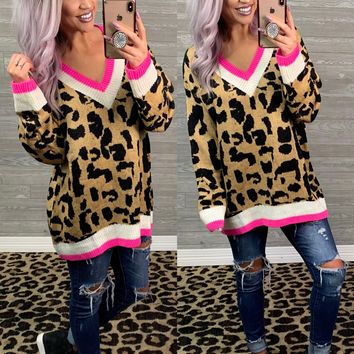 Oversized Pink Lined Leopard Sweater