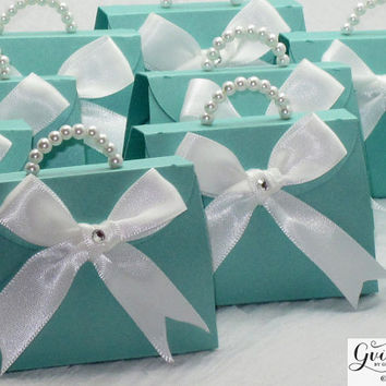 Mini Tiffany Blue Paper Purse - Breakfast at Tiffany's Party Favors - Tiffany Blue & Pink Pearls Paper Purse - SET OF 10