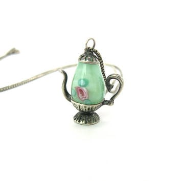 Teapot Pendant Necklace Green Murano Satin Glass Pink Roses Sterling Silver Coffee Pot Box Chain 1970s Vintage Italian Figural Tea Jewelry