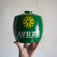 Vintage Ice Bucket // French Mod 1960 Promotional AVEZE // Bright Yellow Green // Summer Drinks Barware // French Country Bistro // Retro