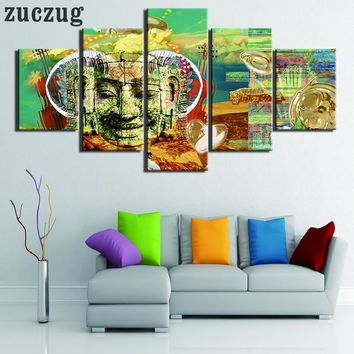Modern 5 Piece Buddha Abstract Sculpture Oil on Canvas Wall Art - 2 Size Options