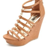 Gold Bow-Embellished Strappy Platform Wedges - Cognac