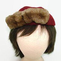 Vintage Burgundy Wool Hat with Real Fur Bow 1950s Helen Hayes Utica, NY Maroon Cloth Cap with Offset Bow