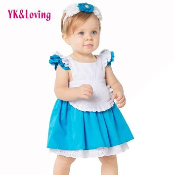 High Quality Alice Dress In Wonderland Halloween Costume Dress 2016 Fashion Blue White Party Ruffles 2Pcs Kids Outfits 1-8 years