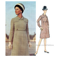 1960s VOGUE 1914 DRESS PATTERN Long Sleeves CoatDress OnePiece Dress Balmain Vogue Paris Original Bust 32.5 Size 10 Womens Sewing Patterns