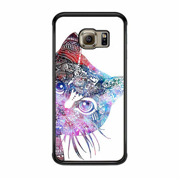 Aztec Cat In Rainbow Color Samsung Galaxy S6 Edge Case