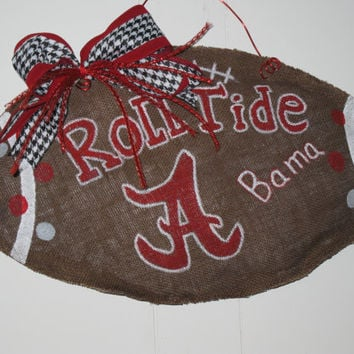 Alabama Crimson Tide Burlap Football Roll Tide Burlap Football Burlap Football Door Hanger Collegiate Burlap Football