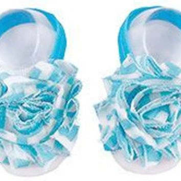 Shabby Chic Baby Toddler Barefoot Sandal Turquoise Blue Chiffon Flower Elastic Foot Wear  2 Pc 1 Pair New Item