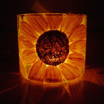Sunflower Glass Candle Holder hand painted upcycled glass yellow gold brown great gift