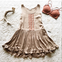 A Babydoll Embroidered Sundress in Light Olive