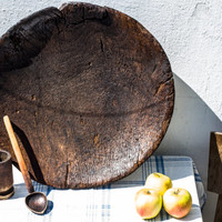 Primitive Round Wooden Bowl, Hand Carved Bowl, Country Chic, Primitive Wooden Dough Bowl, Eco Friendly Rustic Decor, Antique cookware
