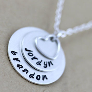 2 Names custom necklace Personalized necklace by LustrousElements