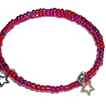 Plus Size Elegance Fuscia Mix Glass Beaded Artisan Crafted Stackable Wrap Bracelet (L-XXL)