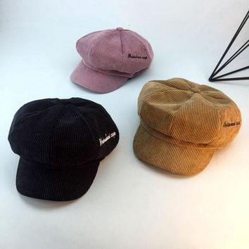 ONETOW Casual Fashion All-match Corduroy Embroidery Letter Women Octagonal Hat Flat Cap