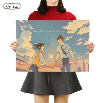 TIE LER Your Name A Style Poster Cafe Bar Home Decor Painting Anime Kraft Paper Wall Sticker Wallpaper 51X36cm