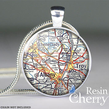 Schenectady map charm jewelry,Tory map resin pendant,Albary map pendant charm,New York- M1048CP