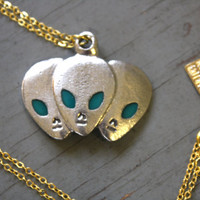 HANDMADE Pewter 3 ALIEN Charm on Gold Plated Chain