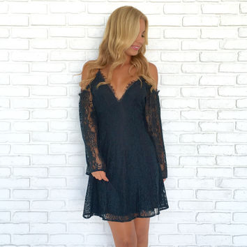 Best Bud Floral Lace Dress In Teal Blue