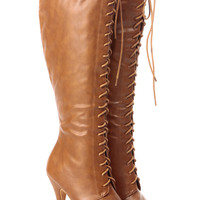 Tan Faux Leather Knee High Lace Up Platform Boots