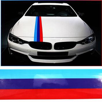 LARBLL 2M*14.7CM M-Color Car Styling Racing Stripes Sticker Decals Accessories PVC Emblem Decoration For BMW E39 E46 Z4 X3 X5 X6
