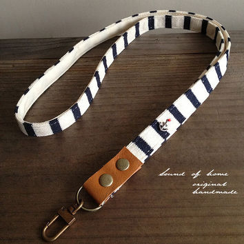 Nautical anchor unisex leather keychain key holder lanyard handmade zakka