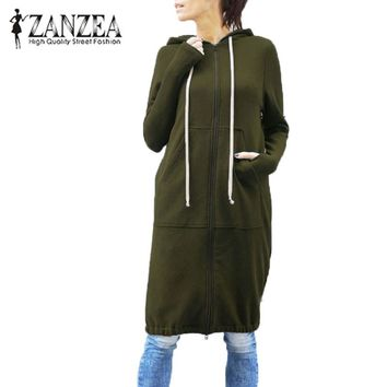 Autumn Winter Coat Jacket 2018 ZANZEA Plus Size 5XL Women Hoodies Zipper Hooded Long Sweatshirt Dress Long Sleeve Baggy Outwear
