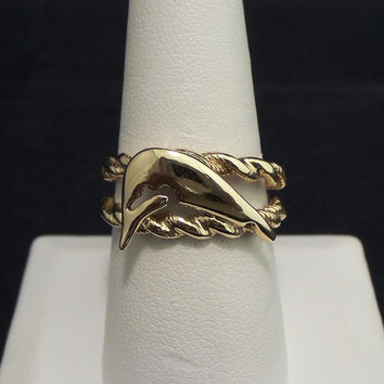 Solid 14K Yellow Gold Jumping Whale Custom Rope Design Ring - Size 9