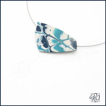 Polymer Clay Necklace - Sky Infinity - Abstract Art Jewelry - Colored Dreams Turquoise, Aqua, Denim, White. Ready to ship.