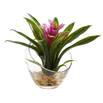Silk Flowers -8 Inch Purple Tropical Bromeliad In Angled Vase Artificial Plant