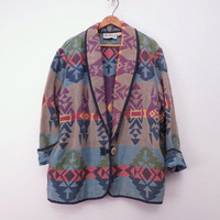 Vintage 80s 90s Blanket Jacket Southwest Jacket by Flashback M L XL