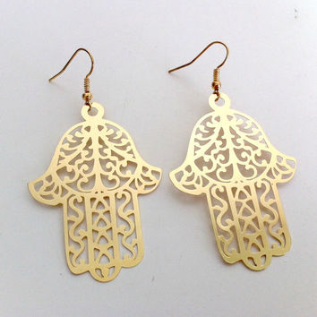 Golden Hamsa Earrings