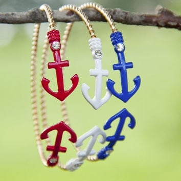Sailor Style Red White And Blue Gold Studded Anchor Bracelets