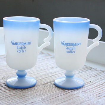 Set Of 2 White & Blue Footed Vandermint Dutch Coffee Milk Glass Mugs / Coffee Cups / Holland / Mint Chocolate Liqueur