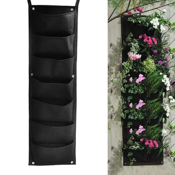 New arrival 7 Pocket Hanging Vertical Garden Planter Indoor Outdoor  Wall-mounted Herb Pot Decor Garden Plants Necessaries