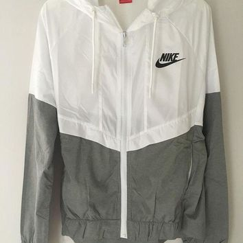 DCCKBA7 Fashion 'NIKE' White/Gray Hooded Zipper Cardigan Sweatshirt Jacket Coat Windbreaker Sportswear