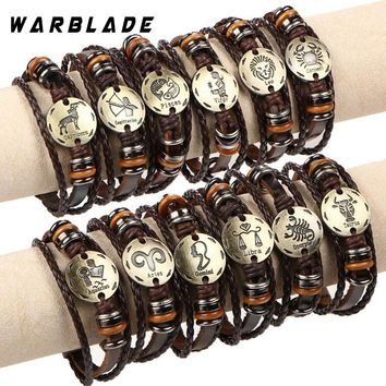 12pcs/set 12 Constellations Bracelets Bangles Fashion Punk Leather Bracelet Men Vintage Zodiac Signs Women Wristband WBL