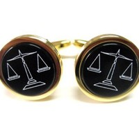 Golden Scale of Justice Cufflinks [Jewelry]