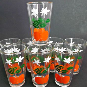 Set of Eight Vintage Orange Juice Glasses Tumblers Mid Century