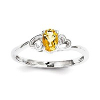 Sterling Silver Citrine Double Heart November Birthstone Ring
