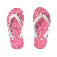 White and Black Zigzags on Pink Kid's Flip Flops