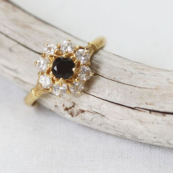 Vintage 18K Onyx and Faux Diamond Ring
