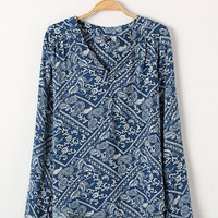 Blue and White Porcelain Print V-neck Long Sleeve Short Front Blouse