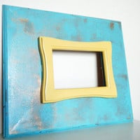 Chic Yellow Gold and Turquoise Blue Wall Frame by CityGirlsDecor