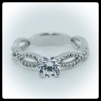Diamond Infinity Setting Engagement Ring Moissanite Center 14k Gold - Ring Name: Infinity and Beyond