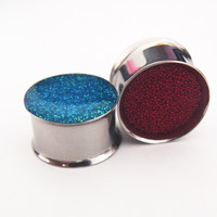 Glamsquared — Cranberry and Electric Blue Reversible Double Flared Steel Plugs