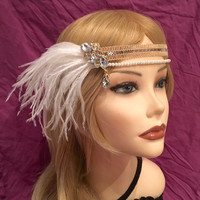 1920s crystal great gatsby flapper headband silver pearls ivory white ostrich feather 20's art deco 1920's Rhinestone headpiece sequin (673)