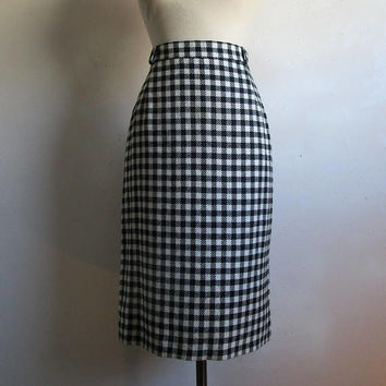 Vintage 1980s Black Check Skirt Vintage Mister Leonard Len Wasser Black White Plaid Straight Wool Skirt 14