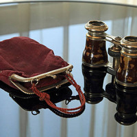 Vintage Tortoiseshell Opera Glasses - with Red Cloth Carrying Purse